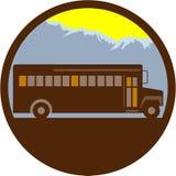 School Bus Vintage Mountains Circle Retro Royalty Free Stock Photos