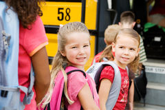 School Bus: Waiting to Get on the Bus Stock Images