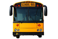 School Bus On White. A front view of a bright yellow school bus with large black mirrors. Image has been isolated on a white background Royalty Free Stock Photo