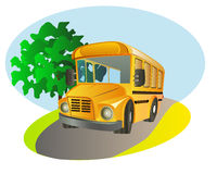 School bus. Yellow color school bus illustration Royalty Free Stock Images