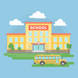 School with bus. Royalty Free Stock Images