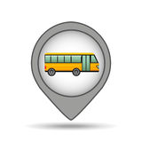 School bus yellow map pointer design Royalty Free Stock Image