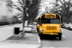 School bus. A yellow school bus with a zoomblur effect Royalty Free Stock Photos