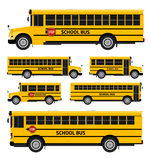 School buses. Flat vector school buses in two sides view Stock Photo