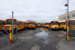 Free School Buses Parked On The Yard In Brooklyn After NYC Closed Down The Public School System To Stop The Spread Of The Coronavirus Royalty Free Stock Image - 176209296