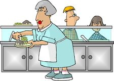 School Cafeteria Lady. This illustration that I created depicts a woman in uniform serving 2 kids in a cafeteria Stock Image