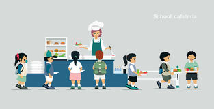 School cafeteria. Students stand in line to receive food in the school cafeteria Royalty Free Stock Photo