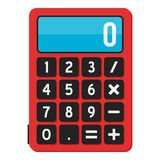 School Calculator Flat Icon Isolated on White. Small red calculator flat icon, isolated on white background. Eps file available Royalty Free Stock Photo