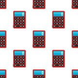 School Calculator Icon Seamless Pattern. A seamless pattern with a small red calculator flat icon, isolated on white background. Useful also as design element Stock Images