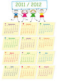 School calendar. Colorful school calendar on new year school from 2011 to 2012 year vector illustration