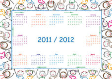 School calendar. Colorful school calendar on new year school from 2011 to 2012 year Stock Photos