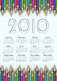 School calendar 2010. Calendar for the year 2010 with colored pencils. checkbook background - week begins MONDAY Vector Illustration