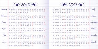 School calendar on 2013 year. Exercise book Stock Illustration
