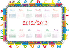 School calendar. Colorful school calendar on new year school from 2012 to 2013 year stock illustration