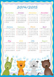 School calendar 2014/2015. Colorful school calendar on new year school from 2014 to 2015 year Royalty Free Stock Images