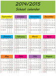 School calendar 2014/2015. Colorful school calendar on new year school from 2014 to 2015 year Stock Photos