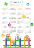 School calendar 2014/2015. Colorful school calendar on new year school from 2014 to 2015 year Stock Images