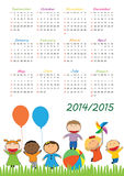 School calendar 2014/2015. Colorful school calendar on new year school from 2014 to 2015 year Royalty Free Stock Photo