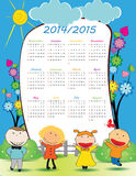 School calendar 2014/2015. Colorful school calendar on new year school from 2014 to 2015 year Stock Photo