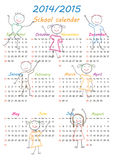 School calendar 2014/2015. Colorful school calendar on new year school from 2014 to 2015 year Stock Image