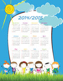 School calendar 2014/2015. Colorful school calendar on new year school from 2014 to 2015 year vector illustration