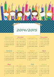 School calendar 2014/2015 Royalty Free Stock Image