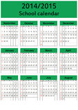 School calendar 2014/2015. Colorful school calendar on new year school from 2014 to 2015 year Royalty Free Stock Image