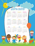 School calendar 2014/2015. Cute and colorful kids calendar on 2015 year Royalty Free Stock Photography