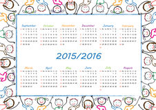 School calendar. On new year school from 2015 to 2016 year stock illustration