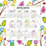 School calendar. On new year school from 2015 to 2016 year Royalty Free Stock Photos