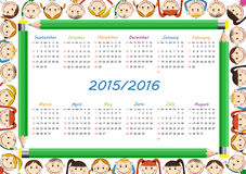 School calendar. On new year school from 2015 to 2016 year vector illustration