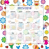 School calendar. On new year school from 2015 to 2016 year royalty free illustration