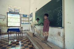 School in Cambodia stock image