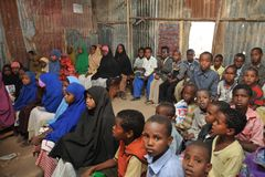 School camp for African refugees on the outskirts of Hargeisa. African refugee camp on the outskirts of Hargeisa in Somaliland. With the support of UNICEF, an Stock Image
