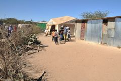 School camp for African refugees on the outskirts of Hargeisa Stock Images