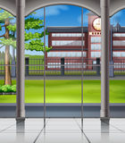 School campus from the window Royalty Free Stock Photos