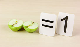 School card and apple with math stock image