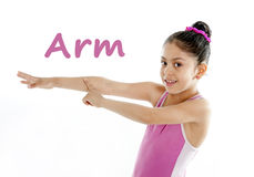 School card of girl pointing at her arm and elbow on white background Royalty Free Stock Photography