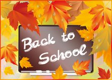 School card with maple leaves.  Stock Images