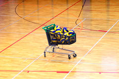 School gym cart with balls Stock Photography