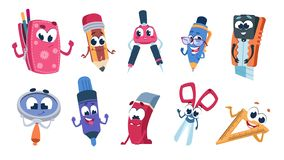 School cartoon characters. Student stationery mascots with smile faces, flat cut collection of funny educational