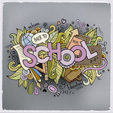School cartoon hand lettering and doodles elements Stock Photo
