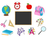 School cartoon objects on white Stock Images