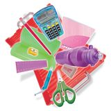 School case with flying stationery. Royalty Free Stock Photos