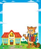 School cat theme frame 1 Stock Photography