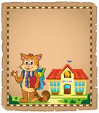 School cat theme parchment 1 Royalty Free Stock Photo