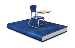 School chair on the book. 3d illustration Royalty Free Stock Photos