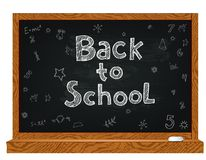 School chalckboard with doodles Stock Photos
