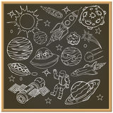 School chalk board with outer space doodles Stock Photography
