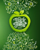 School chalkboard with apple. Back to school vertical chalkboard with hand drawn pattern and lettering logo in apple frame. Education background for posters Stock Photography